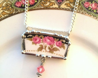 Recycled china necklace. ecofriendly jewelry, broken china jewelry necklace antique Art Nouveau pink roses