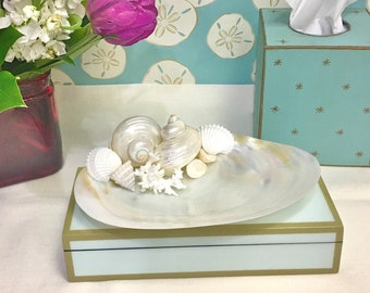 Beach Decor - Mother of Pearl Shell Plate with Seashells and Coral - jewelry tray bathroom decor seashells sea shells