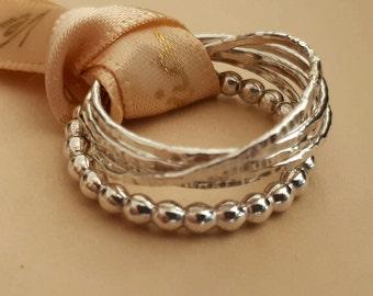silver russian ring interlocking ring beaded ring wedding rings stackable unisex rings - Ring Wedding