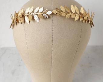 Laurel Wreath Headband, Grecian Headband, Gold Leaf Headpiece, Bridal Hair Piece, Goddess Headpiece, Leaf Tiara, Bridal Wreath