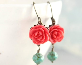 Coral Red Rose Earrings Bridesmaids Gift Teal Green Glass Rosebud Drop Leverback Earrings Vintage Style Antique Brass Filigree