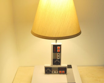Original Nintendo NES Console and Controller Desk Lamp - Nintendo Light Sculpture With Lamp Shade