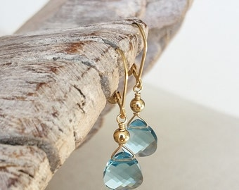 Gold Aquamarine Crystal Earrings