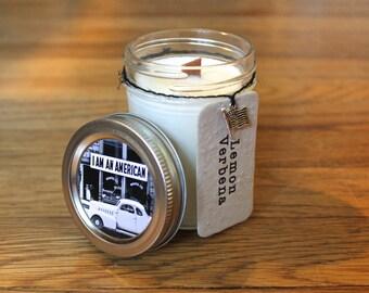 Lemon Verbena Soy Candle - 8 oz. Soy Candle - Woodwick Candle - Wildflower Seeds - Americana - American Flag - Home Decor -Vintage Americana