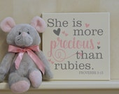 She Is More Precious Than Rubies - Sign Scripture Proverbs 3:15 - Painted Bible Verse - Light Pink Gray - Christian Gift Wall Art for Girl