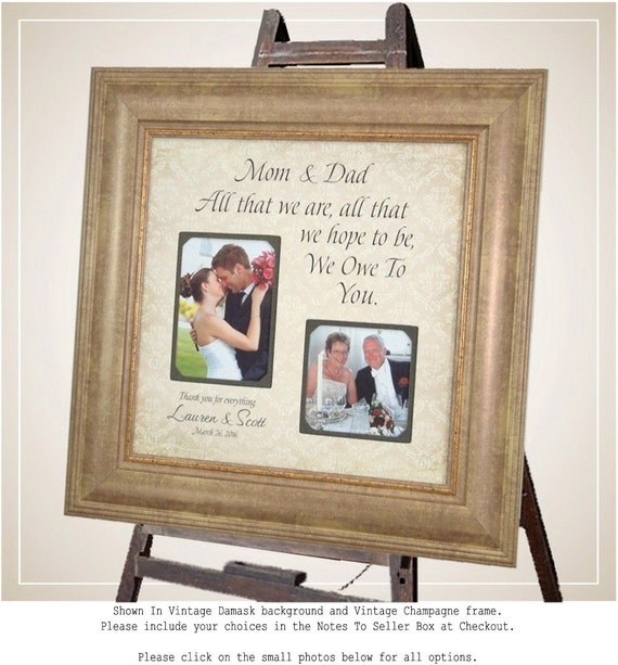 Personalized Wedding Gift, Thank You Gift For Parents, All That We Are, Gift for Mom Dad, father of the bride, wedding guest book, 16 X 16