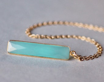 STUNNING Aqua Mint Chalcedony Gemstone Bar Necklace,Vertical Bar Necklace,Gold Filled Gemstone Pendant Necklace,Minimalist,Layering,Seafoam