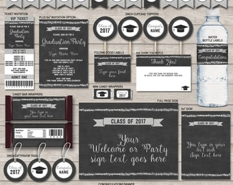 Graduation Party Invitations & Decorations - Class of 2017 - Silver Glitter Chalkboard - Printable Package - EDITABLE text INSTANT DOWNLOAD