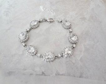 Cubic zirconia Bracelet, Brides bracelet, Tennis bracelet, AAA+ cubic zirconias, Wedding bracelet, Bridal jewelry, Anniversary gift,VICTORIA