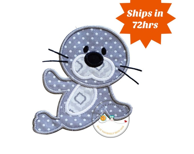 Gray and white baby seal iron on patch, Large seal machine embroidered fabric appliques, cute mammal shirt iron on applique, ready to ship