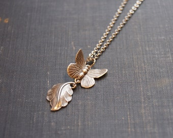 Silver Butterfly Necklace Butterfly Leaf Necklace Butterfly Wing Jewelry Butterfly Pendant Necklace Silver Leaf Jewelry Butterfly in Flight