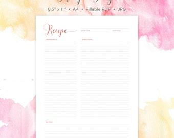 Recipe Page | Recipe Printable | Recipe Card | Recipe Template | Recipe Sheet | Blank Recipe Book | Printable Recipe | Instant Download