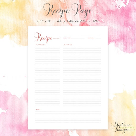 Recipe Page  Recipe Printable  Recipe Card  Recipe Template