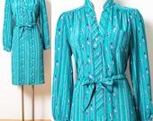 Vintage green Dress, vintage 80s Dress, 80s Secretary Dress, Vintage stripe Dress, teal green dress, Vintage secretary dress - S/M