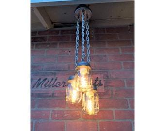 Pint Mason Jar chandelier,Rustic lighting, mini Industrial chandelier, 3 triple pendant mason jar light