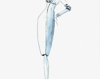 1950s Dior Dress Fashion Illustration watercolor pans grey monochromatic abstract vintage  minimal couture drawing