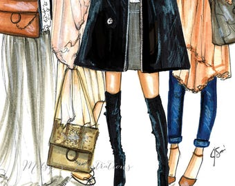 FRIEND-ly Fashion (Fashion Illustration Print)