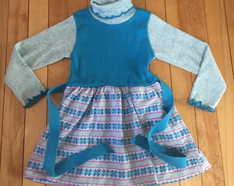 Vintage 1980s Girls Health Tex Blue Ribbed Knit Dress! Size 3-4
