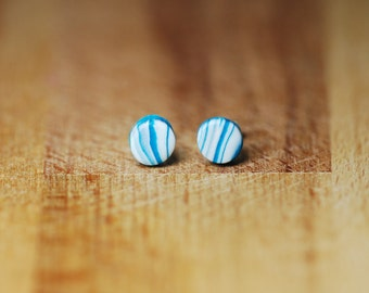 Sale Earrings - For Small Ears - Little Earrings - Blue And White Studs - Polymer Clay Earrings - Tiny Stud Earrings - Gift For Teens