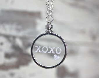 Necklace - XOXO Necklace - Bling Necklace - Silver Pendant