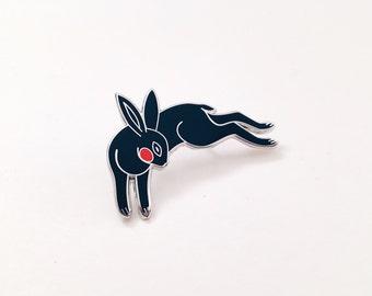 "Black Rabbit Enamel Pin, 1.5"" Hard Enamel Pin in Silver Finish w/ Rubber Clutch. Leaping Bunny, Bun Wild Animal Cloisonné Brooch, Gift Idea."