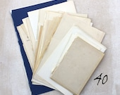 Large pack of 40 book blank end pages and title pages for sketching and collage: wonderful patina and old colour hues, paper ephemera pack.