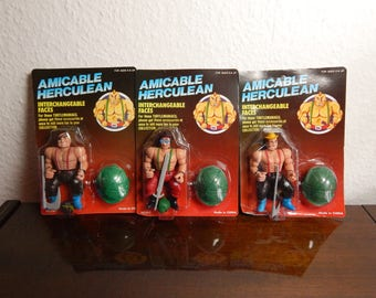 Rare Set of 3 Amicable Herculean Vintage Action Figures! TMNT/Masters of the Universe Knock-Off