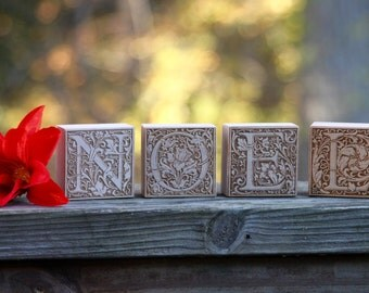 NOEL holiday wood blocks - classic, rustic home decor - free ship in US!