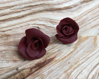 EarEarDesigns - Handcrafted 'Rose' Earrings - Unique - Deep Red - Silver-Plated - Polymer Clay- Flowers
