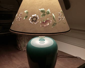 Love at First Sight! Spring Floral Painted & Cut Paper Lampshade on Classic Green Lamp ~ Nice Accent Piece