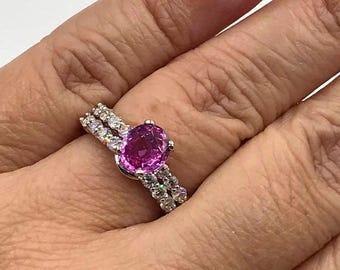 Pink Sapphire Engagement Ring Set w/Diamonds, Sapphire Engagement Ring, Pink Sapphire Bridal Ring Set, Pink Sapphire Ring, Appraisal Incl
