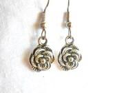 Flower Earrings Blooming Flower Earrings Silver Earrings Surgical Steel Earrings Drop Earrings Charm Earrings