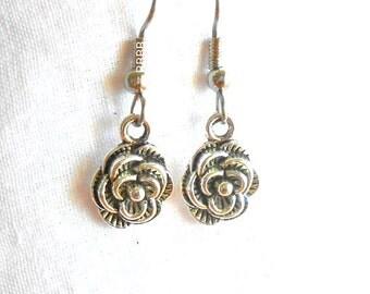 Flower Earrings Blooming Flower Earrings Silver Earrings Surgical Steel Hooks Drop Earrings Charm Earrings Flower Petal