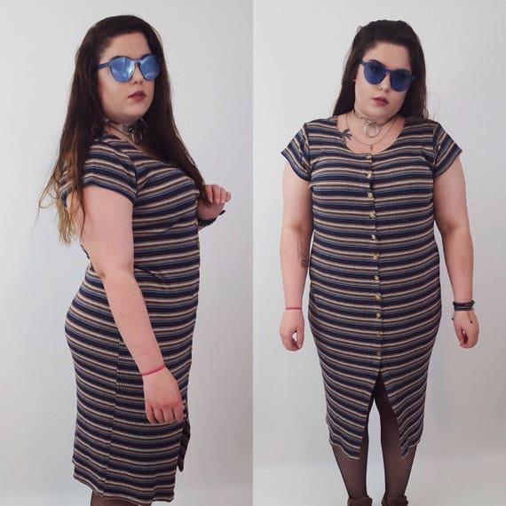Vintage 90s Striped Midi Dress XL - Extra Large Button Front Rib Knit Dress - 1990s Grunge Stripe Summer Sun Dress - Earth Tone Womens Maxi