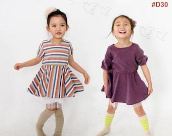 Kid's sewing pattern pdf/Toddler Kids/ Little Girl dress-2 ways of neckline / Waist banding flare dress / sizes 12M to 6Years