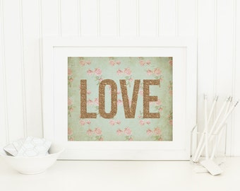Love Printable Pink and Mint Nursery Decor Girl Nursery Wall Art Shabby Nursery Decor Love Quote Prints Nursery Word Prints Gold Glitter