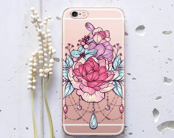 Floral iPhone 7 Case iPhone X Jewels Case iPhone 5s Case iPhone 7 Plus Case for Samsung S6 Phone Case iPhone 8 Plus Clear Case iPhone WC1142