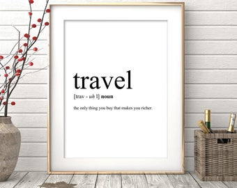 Travel Definition, Printable Travel Quote, Printable Word, Word Poster, Travel Word Art, Typography Wall Art, Travel Instant Download