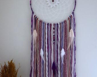 12''  purple dreamcatcher, bohemian wall decor, boho wall hanging decoration, beads yarn and pheasant feathers