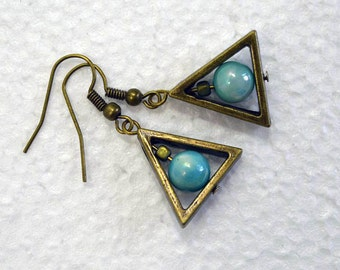 Brass Triangle Earrings with Aqua Beads: Rustic Drop Earrings, Trinity Circle, Nickle-Free Earwires, Handmade in the USA, Ready to Ship
