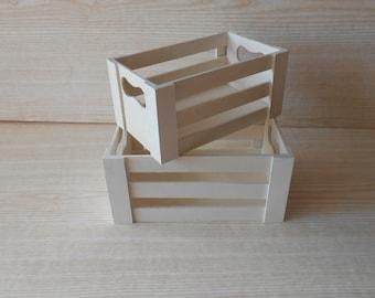 Set of 2 Wooden crates, Kitchen Decor, Cottage Home Decor, Rustic Decoration,
