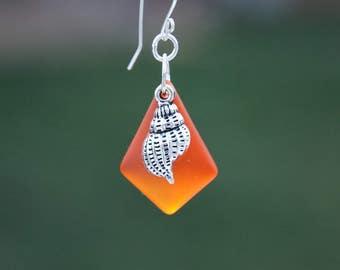 Orange sea glass earrings, Orange recycled sea glass earrings, Orange earrings, shell charm earrings, Nautical earrings, Item #100