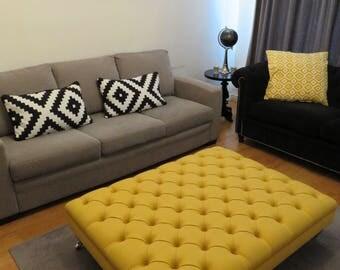 Handmade Upholstered Deep Buttoned Footstool - In Warwick Amatheon Wool - 11 Colours - Yellow Fuchsia Grey Blue Denim