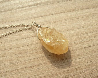 Raw Citrine Necklace, Sterling Silver Citrine Necklace, Citrine Jewelry, Raw Stone Necklace, Healing Crystal Jewelry