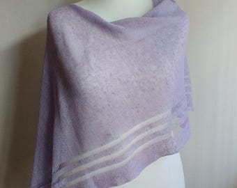 Knitted linen poncho | beach cover up| summer poncho | bridesmaid shawl | linen poncho | lilac shawl | birthday gift | wedding shawl