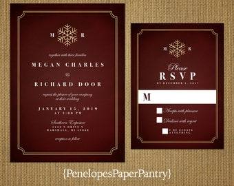 Winter Wedding Invitation,Burgundy,Gold Snowflake,Burgundy and Gold,Shimmery,Elegant,Traditional,Formal,Sophisticated,Printed Invitation