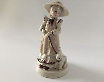 China Good Shepherdess Girl with Lamb Figurine - Excellent Condition