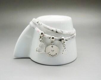 bracelet liberty argenté - médaille gravé enfant maman - bracelet maman - mom gift
