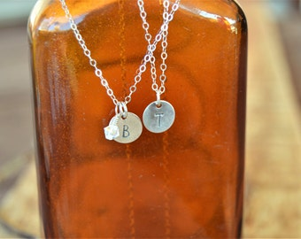 Personalized Hand Stamped Silver Initial Necklace/ Layering Necklace