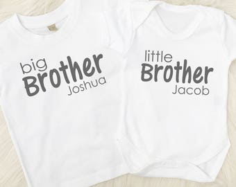 Personalised Big Brother Little Brother T-Shirt and Vest, Sibling Gift, Brother Gift, New Brother, Made in the UK